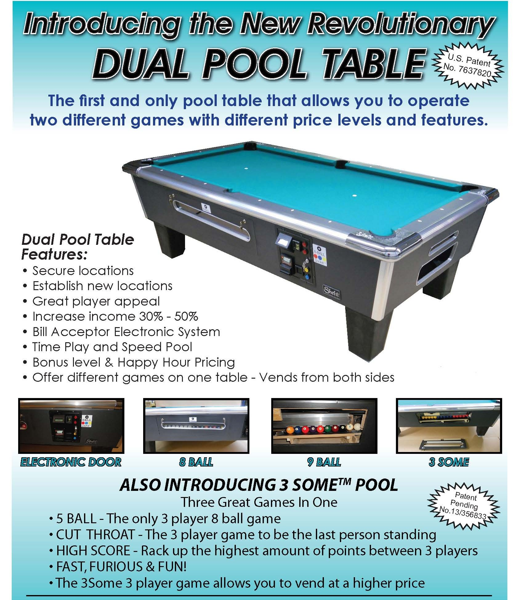 Shelti DualCoin Pool Table Features